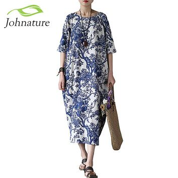Johnature Cotton Linen Vintage Flower Pint Women Fall Dress Half Sleeve O-neck Washed Plus Size Loose 2017 New Autumn Women Robe