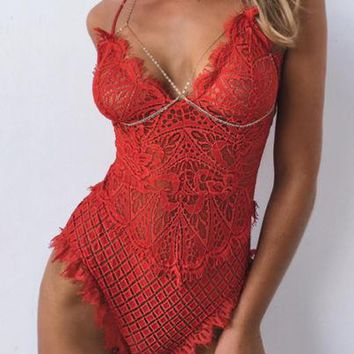 Ella Lingerie Lace Bodysuit (Red)