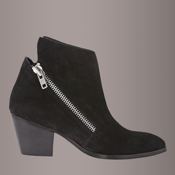 Matisse FRANKIE Black Leather Asymmetrical Zip Ankle Boot Bootie