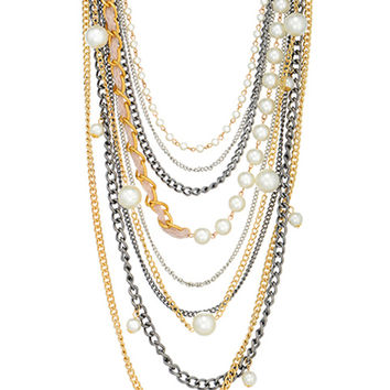 Coco Chain and Pearl Strand Necklace