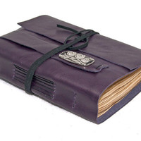 Purple Leather Journal with Bookmark and Tea Stained Pages