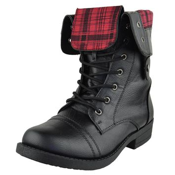 womens-mid-calf-boots-fold-over-cuff-lace-up-combat-shoes-black-sz number 1