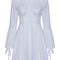White Crochet Insert Tied Sleeves A-line Dress