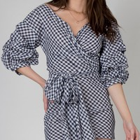 Gingham Wrap Around Dress