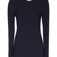 Nicky Night Navy Ribbed-Knit Jumper - REISS
