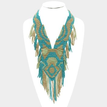 "20"" seed bead bib boho fringe necklace"