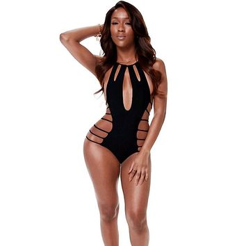 Strappy Spider Web One Piece - Women's Black Swimsuit Bathing Suit