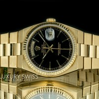 Rolex Men's Day-Date 19018 Quartz 18K Gold Black Dial Fluted Bezel - Pre-Owned