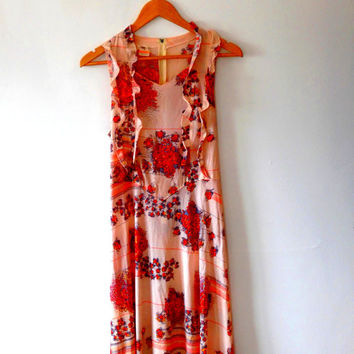 Floral bouquet  / stripe / antique cream / gold / red / orange / grey / frill / vintage / 70s / boho / tea dress