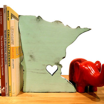 Minnesota with Heart (Pictured In Mint) Wooden Sign Wooden State Cottage Chic Rustic State Map Heart Wooden Home decor Wedding Guest Book