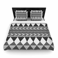 "Nika Martinez ""Black Forest"" Gray White Woven Duvet Cover"