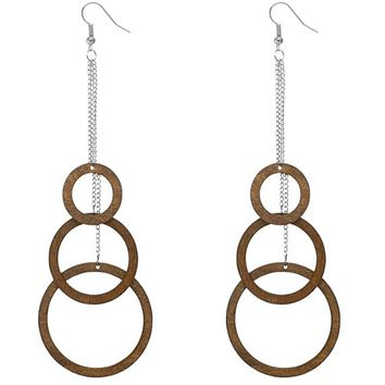Brown Wooden Cascade Drop Chain Hoop Earrings