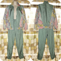 Vintage 80s Windbreaker Track Suit | Pastel Nylon Watercolor | Track Jacket & Pants Set | Vaporwave | Size Small Petite