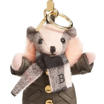Burberry Thomas Bear Bag Charm with Genuine Shearling Trim Puffer Jacket & Scarf | Nordstrom
