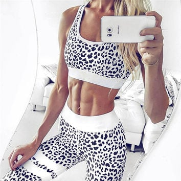 Hot Sale Summer Women's Fashion Vest Leopard Print Yoga Sports Sportswear Set [11735070543]
