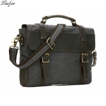 Vintage Men Briefcase Canvas Leather Laptop Business Shoulder Crossbody Bag Casual Durable Leather Messenger Bags Work