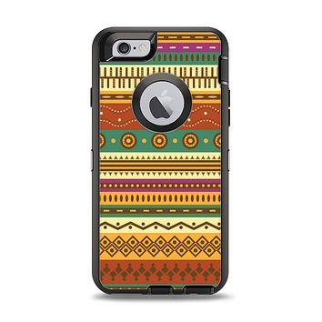 The Aztec Tribal Vintage Tan and Gold Pattern V6 Apple iPhone 6 Otterbox Defender Case Skin Set