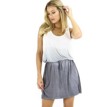 Light Ombre Racerback Drawstring Mini Dress