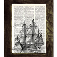 Book Print Old ship print Dictionary or Encyclopedia Page Print- Book print Vintage Ship Print on Vintage Dictionary Book art