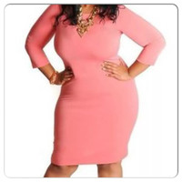 New Plus Size Coral 3/4 Sleeve Bodycon Dress