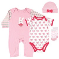 Hudson Baby Baby-Girls 4 Piece Clothing Set, Ballet, 0-3 Months
