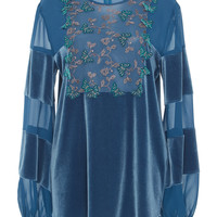 Velvet Long Sleeve Blouse | Moda Operandi