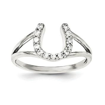 925 Sterling Silver CZ Horseshoe Ring