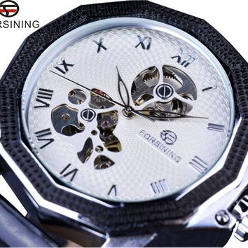 Forsining GMT881 Windmill Skeleton Ripple Irregular Shape Mens Brand Luxury Automatic Half Skeleton Watch