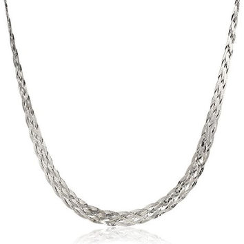Italian Sterling Silver 6-Strand Braided Herringbone Necklace, 16""