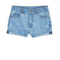 Liv High-Rise Shorts in Light Blue