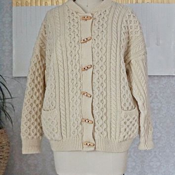 Vintage 1980s Cableknit + Toggle Fisherman Sweater