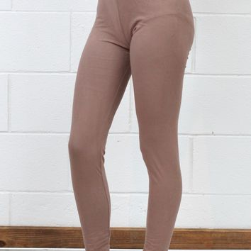 High Waisted Basic Solid Leggings {Mocha}