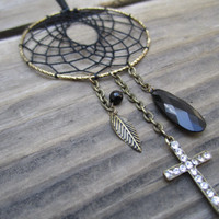 Gold and Black Cross Dream Catcher-Car