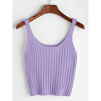 Ribbed Crop Tank Top PURPLE