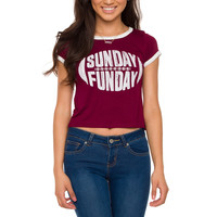 Sunday Funday Crop Top - Burgundy