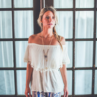 Bohemian Crochet Layered Top in Ivory