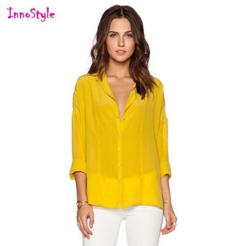 VONE2B5 Long sleeve single breasted sheer shirts for women yellow shirts ladies blue button down shirts plus size chiffon formal blouses