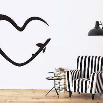 Wall Vinyl Sticker Decal Abstract Image Romantic Heart Symbol Trace Plane Unique Gift (n281)