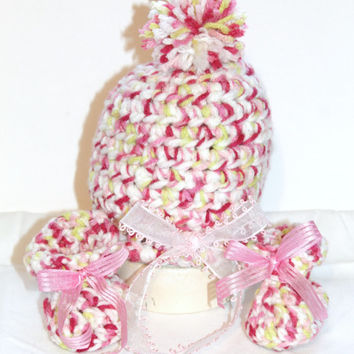Ready to Ship 0-3 mo Pink Crochet Pom Pom Hat & Booties Newborn Girl Coming Home Outfit Photography Photo Prop New Baby Gift Clearance Sale