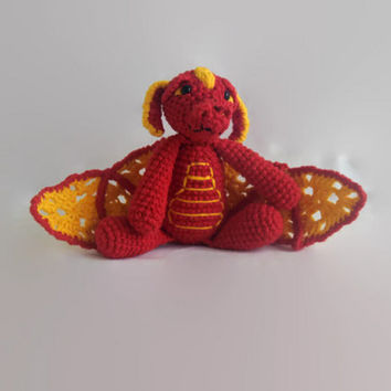 red dragon, crochet rag doll, fantasy, OOAK, scented, eco-friendly, amigurumi, plush animal, wool stuffed