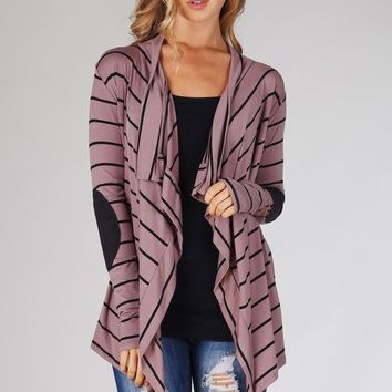 Mocha Black Striped Suede Elbow Patch Cardigan