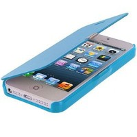 Baby Blue Leather Folio Pouch Case Cover for Apple iPhone 5 5G 5th