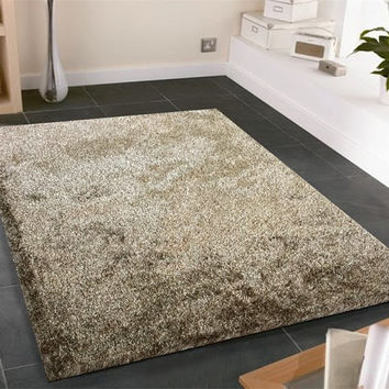Solid 2Tone BROWN Shag Area Rug Amore collection Hand Tufted Weave