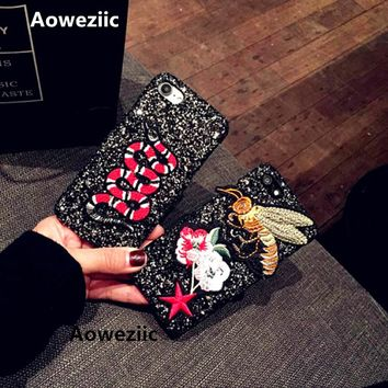 Aoweziic New 2017 bee luxury flash powder sequins for iphone7 6s 6plus mobile phone cases 7Plus 8Plus X hard shell