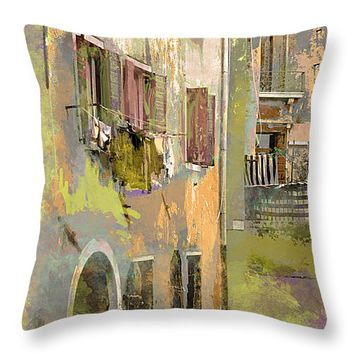 "Venice Washday In Earth Tones Throw Pillow for Sale by Suzanne Powers - 14"" x 14"""