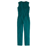 J.Crew Womens Tall Drapey Oxford Crepe V-Neck Jumpsuit