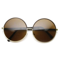 Womens Designer Inspired Super Round Oversize Two Tone Sunglasses 9408