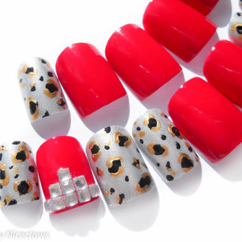 Fake Nails Bright Red , Gems and Leopard Print in Metallics