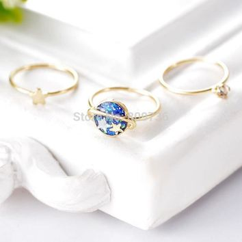 Summer Aerospace Midi Rings Set Jewelry 3pcs/Set Golden Universe Stars Crystal Rings For Women Knuckle Rings