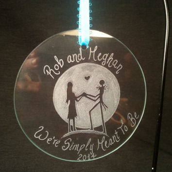 Custom Jack and Sally Nightmare Before Christmas  Hand Engraved/Etched Glass Ornament
